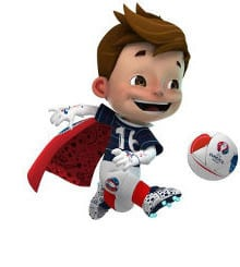 EURO 2016 mascot Super Victor with ball