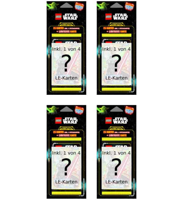 Lego Star Wars Serie 1 Trading Cards - All 4 Blisters