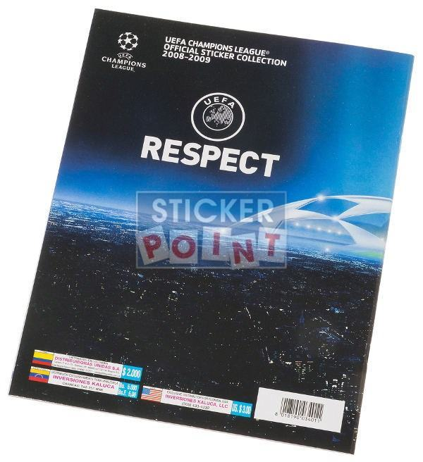 Panini Champions League 2008-2009 Album Back