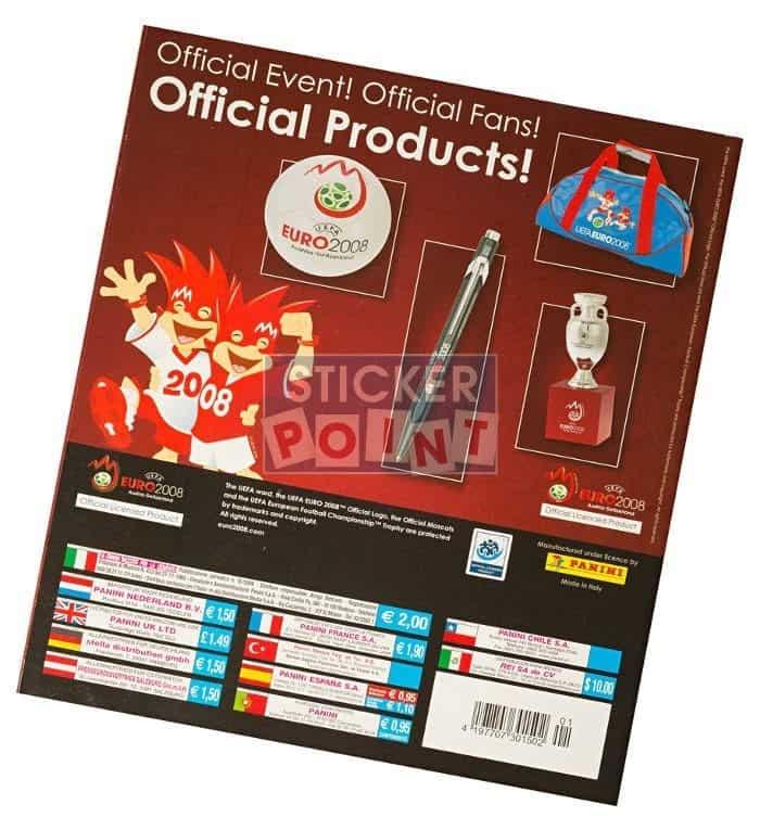 Panini EURO 2008 High Gloss-Set Album Back