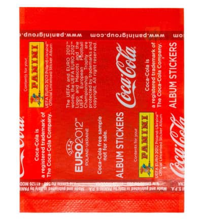 Panini Euro 2012 Coca Cola Promo Packet Special Stickers A-F Back