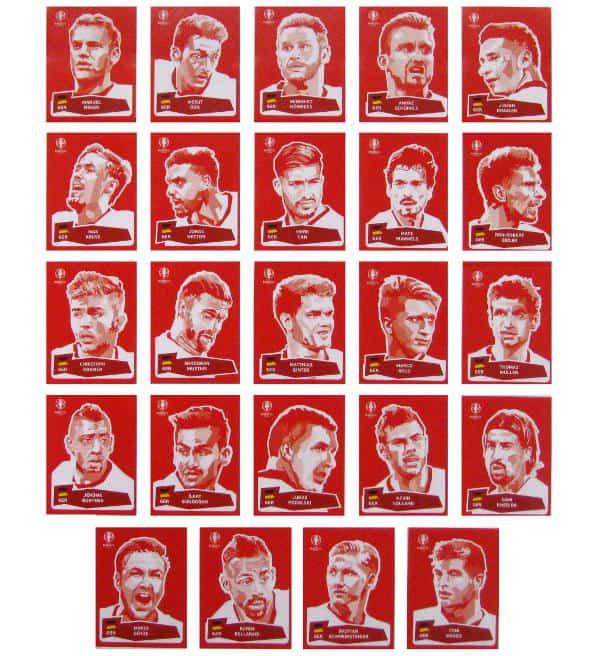 ALBUM Hardcover PANINI EURO 2016-Set 24 sticker Coca Cola 84 AGGIORNAMENTI