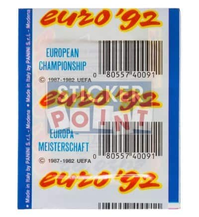 Panini Euro 92 Sticker Packet Rear View