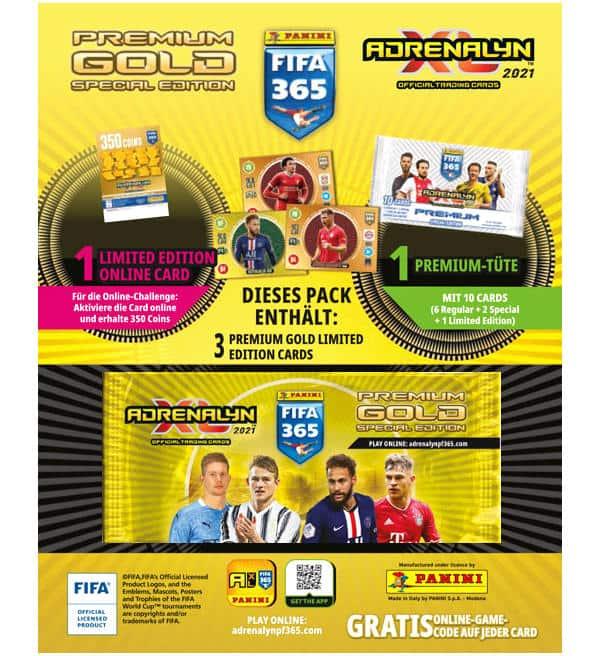 Panini Adrenalyn XL fifa 365 2021 1 X gold Booster 1 X Premium Booster