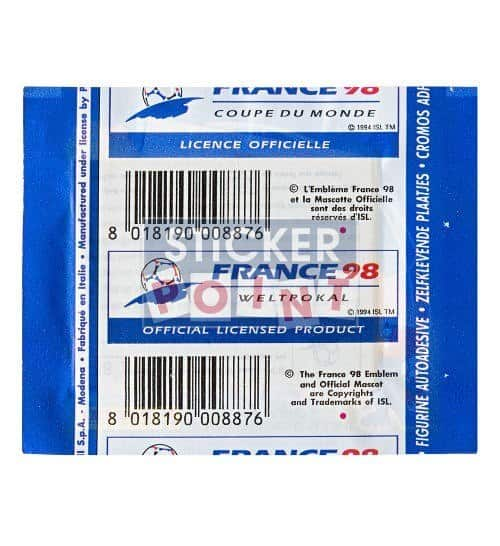 Panini World Cup France 98 1 Sticker-Packet Back