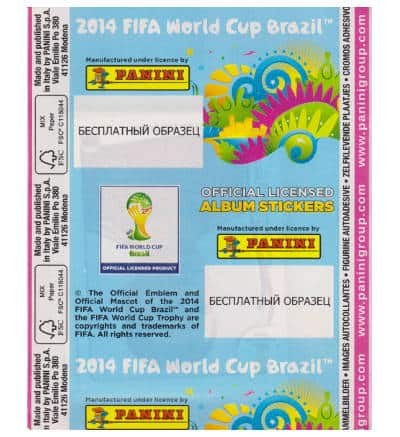 Panini Brasil 2014 Pink Russian Packet - Back