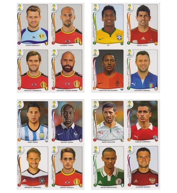Panini WC 2014 Update Set Belgium Sheets 1-4