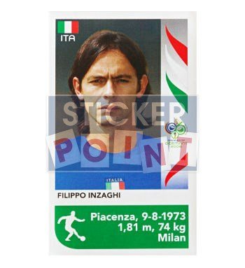 Panini World Cup 2006 Update Sticker Filippo Inzaghi Front
