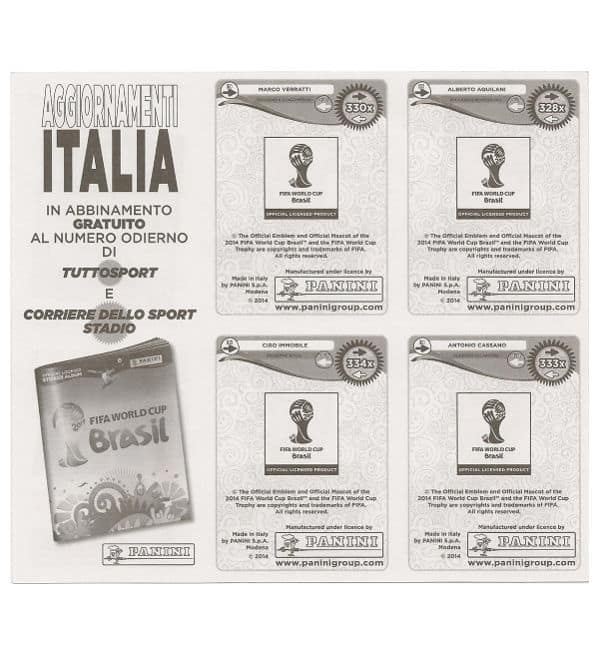 Panini WC 2014 Update Italy - Sheet Back