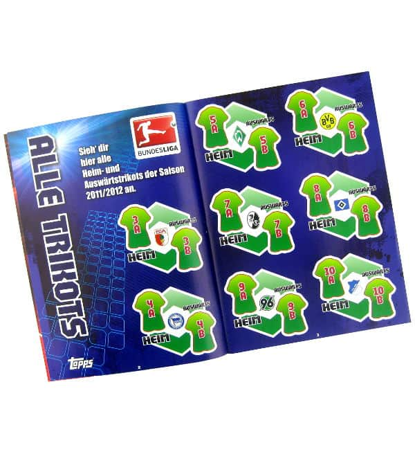 Topps Bundesliga Stickers 2011 / 2012 Album - Jerseys